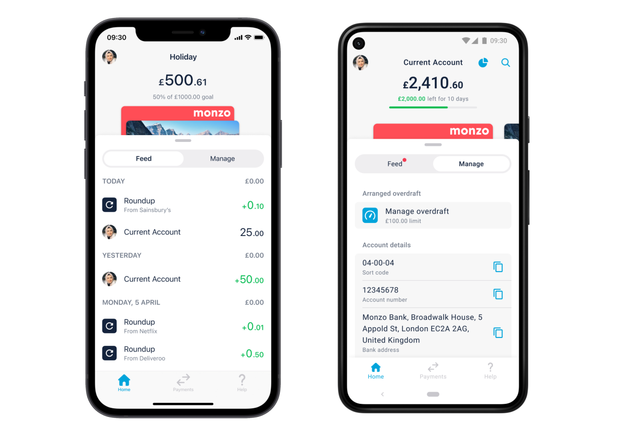An image showing two phones. One is showing the Monzo feed, the other is showing the new manage tab, which sits next to the feed.