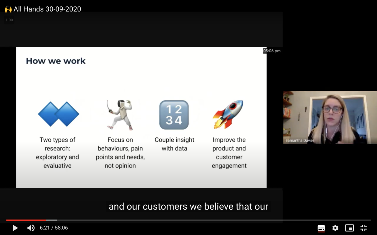Screenshot of a YouTube video from September 2020 showing Samantha presenting how her team works to the whole company at an All Hands meeting