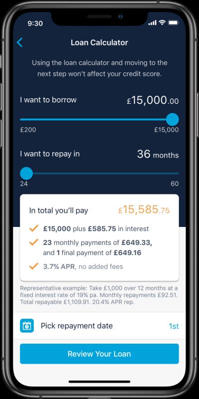 Loans calculator full screen iphone