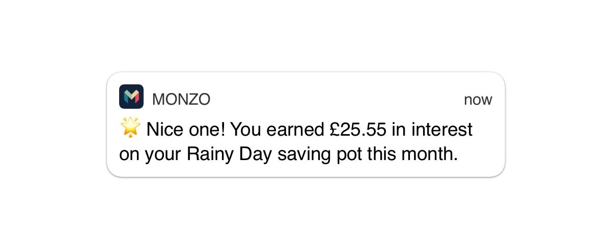 Savings Pot notification
