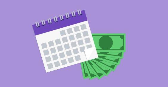 illustration of calendar with cash on purple background