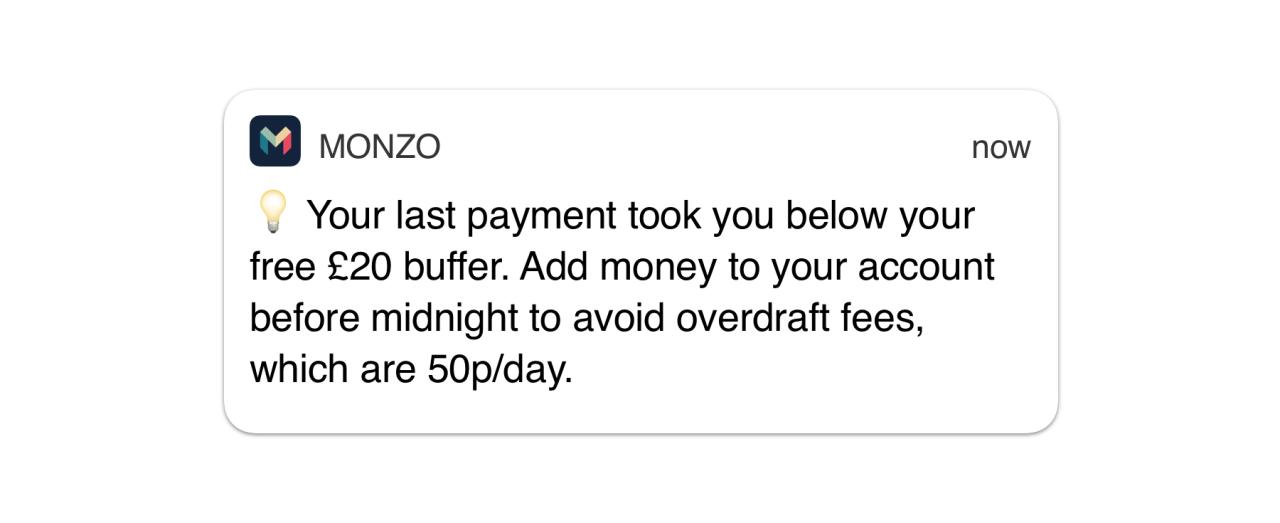 Overdrafts notification