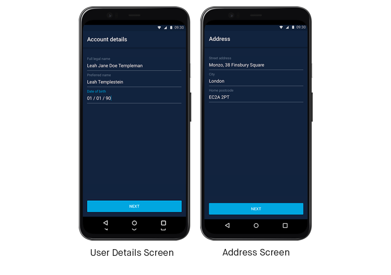 Screens showing the flow to create your Profile when you sign up for Monzo