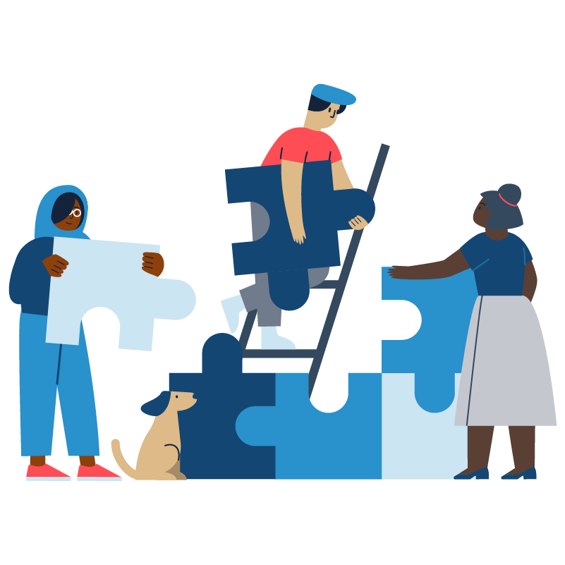 Illustration of many people putting a puzzle together each holding a piece
