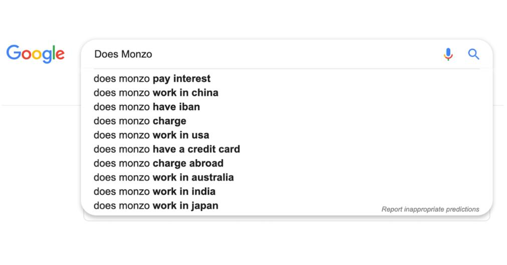 Does Monzo google search
