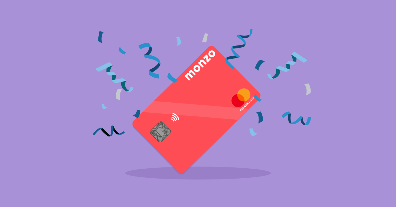 Monzo card with confetti