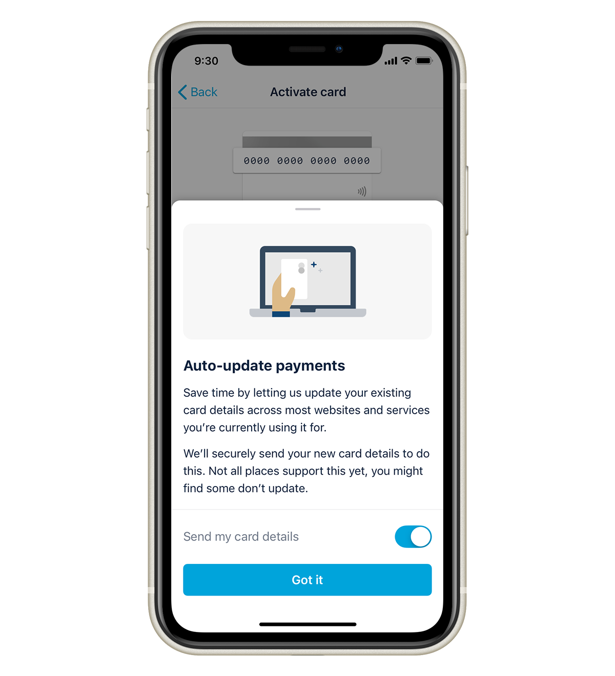 """A pop up screen in the Monzo app. It says """"Save time by letting us update your existing card details across most websites and services you're currently using it for. We'll securely send your new card details to do this. Not all places support this yet, you might find some don't update""""."""