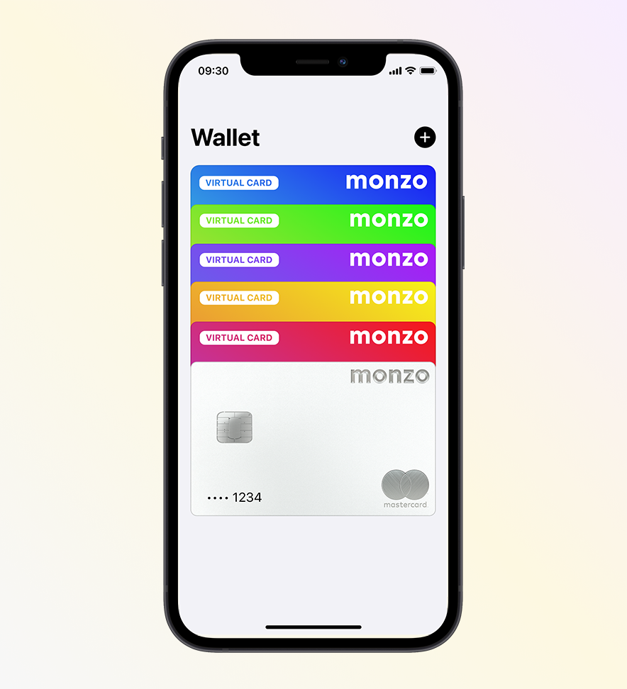An iPhone showing lots 6 different Monzo cards in different colours