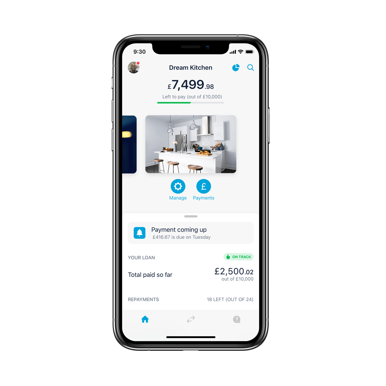 A loan within the Monzo app