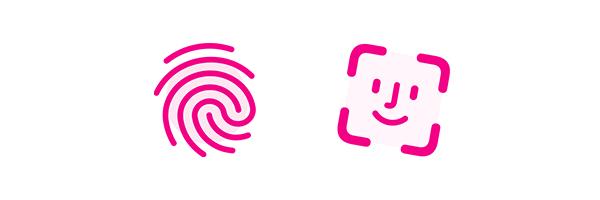 Illustration of fingerprint and Face ID