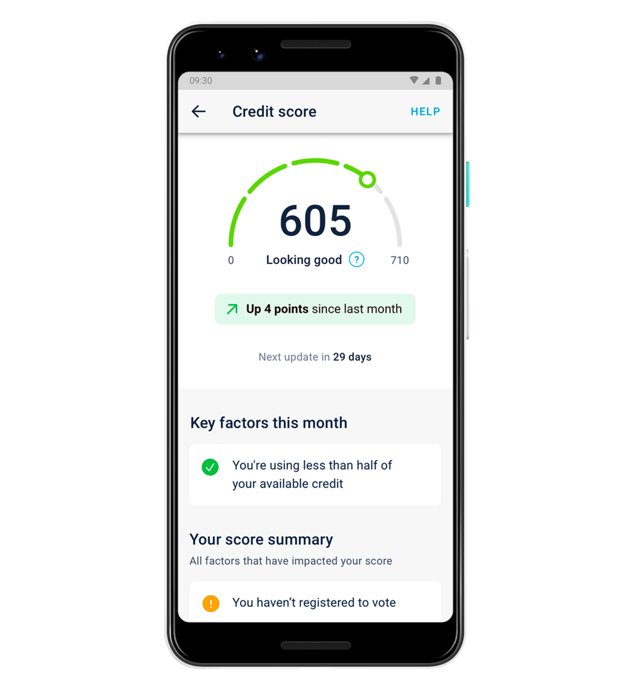 A phone screen showing someone's credit score, and why it's changed.