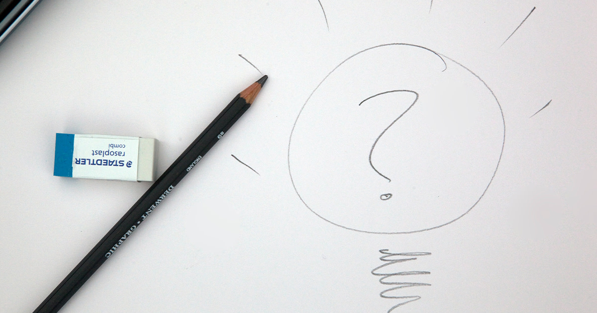 A pencil drawing of a lightbulb containing a question mark