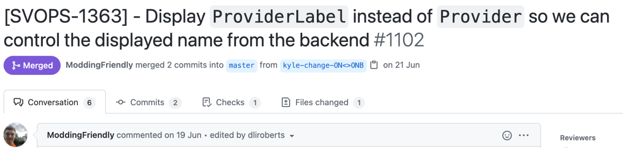 A screenshot of a pull request at Monzo with the title 'Display ProviderLabel instead of Provider so we can control the displayed name from the backend'