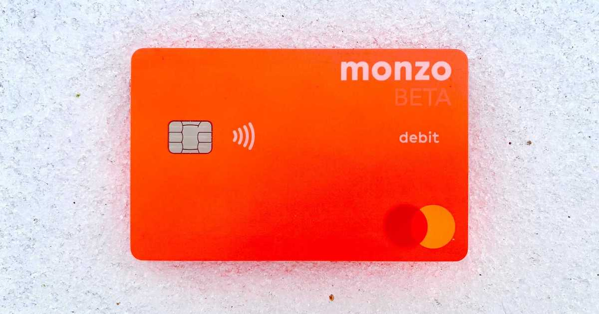 New Monzo card for USA in the snow