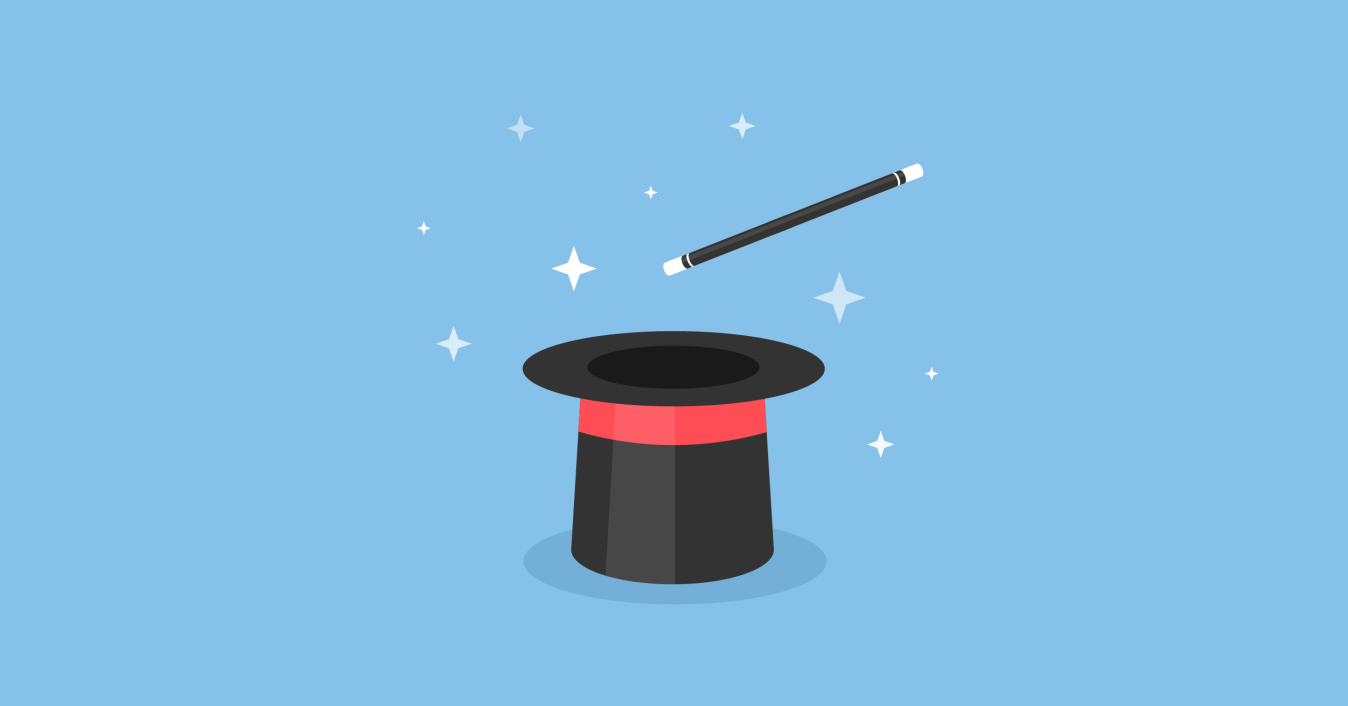 Illustration of a top hat and a magic wand