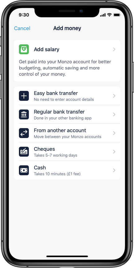 Easy bank transfers are a new way to Add Money to your Monzo account