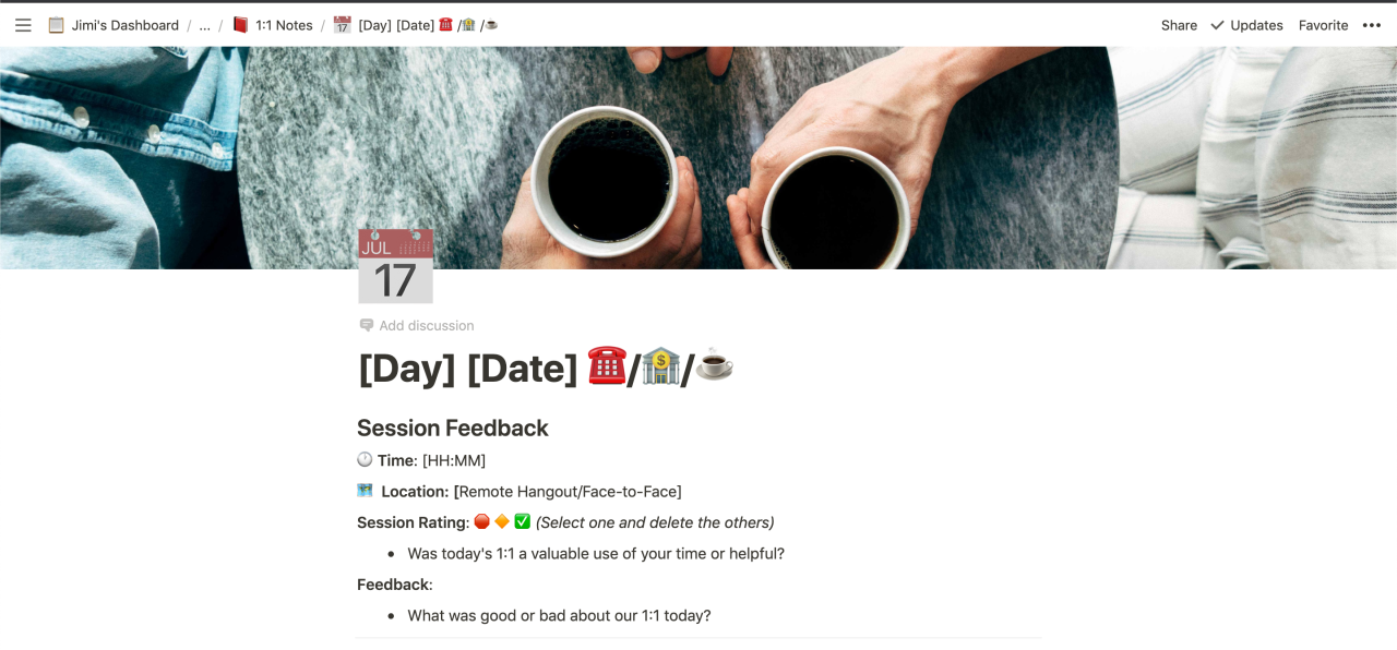 An example 1:1 document showing the time, location, session rating, and other feedback.