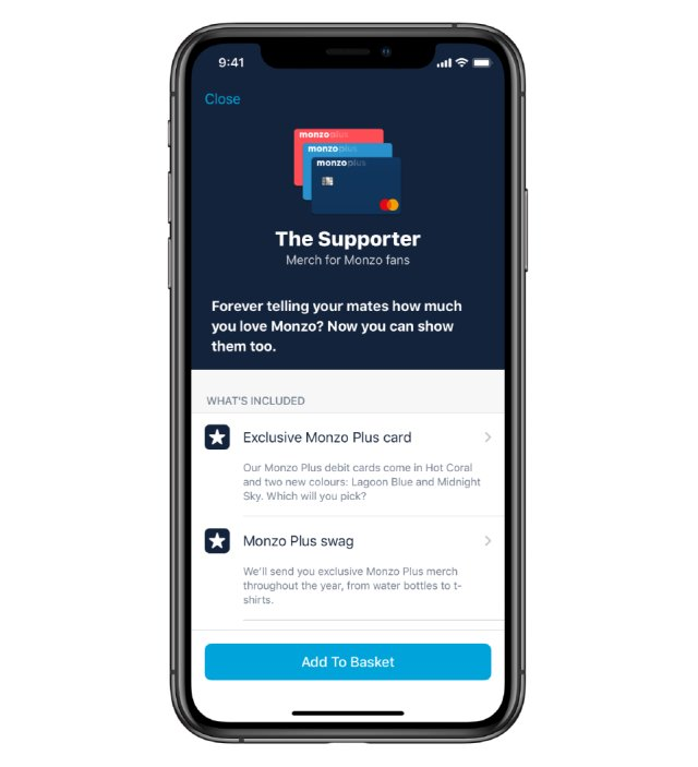 Monzo Plus supporter screen
