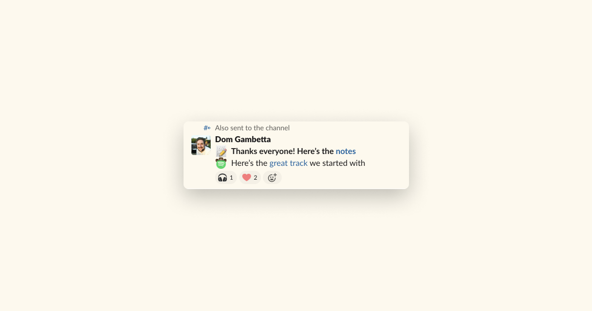 Slack post saying thanks to everyone who came to the session and sharing follow-up notes