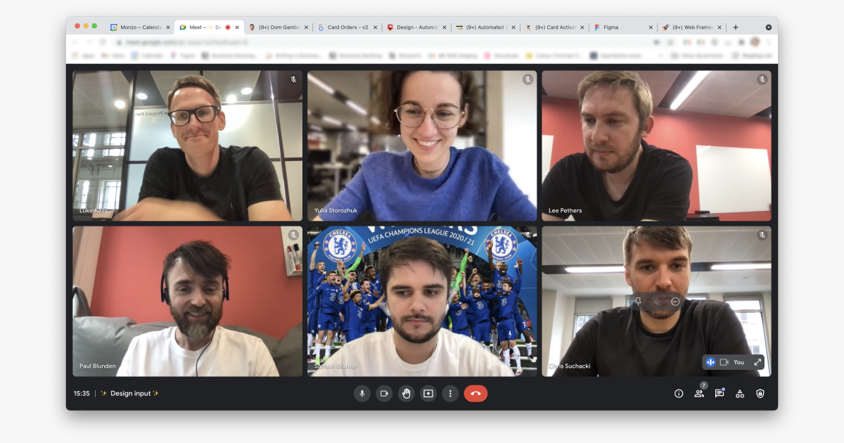 some members of the design team on a Google Hangout video call together