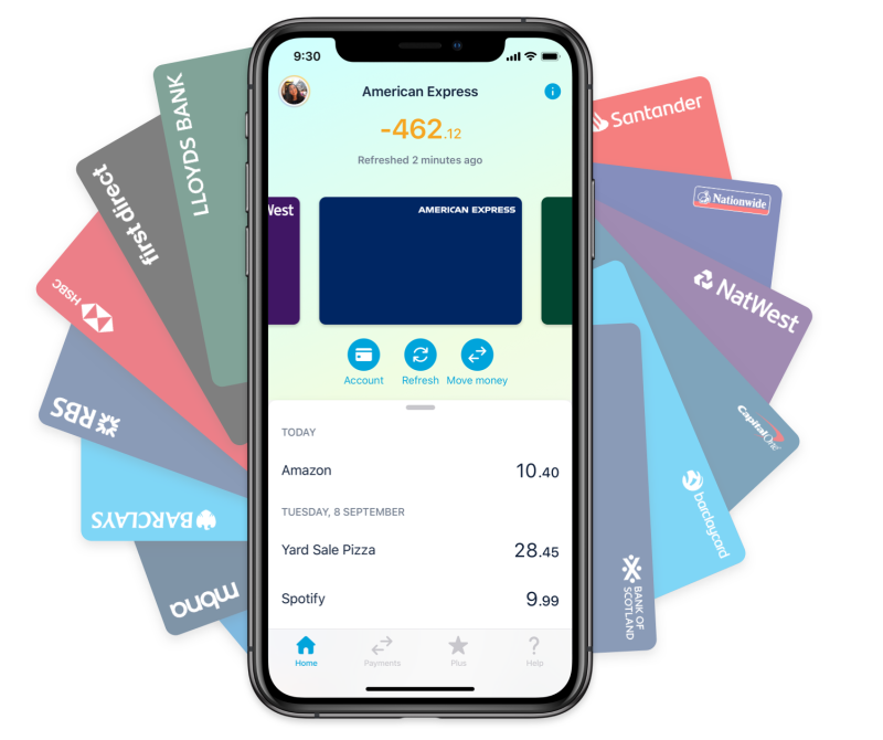 Amex card in the Monzo app