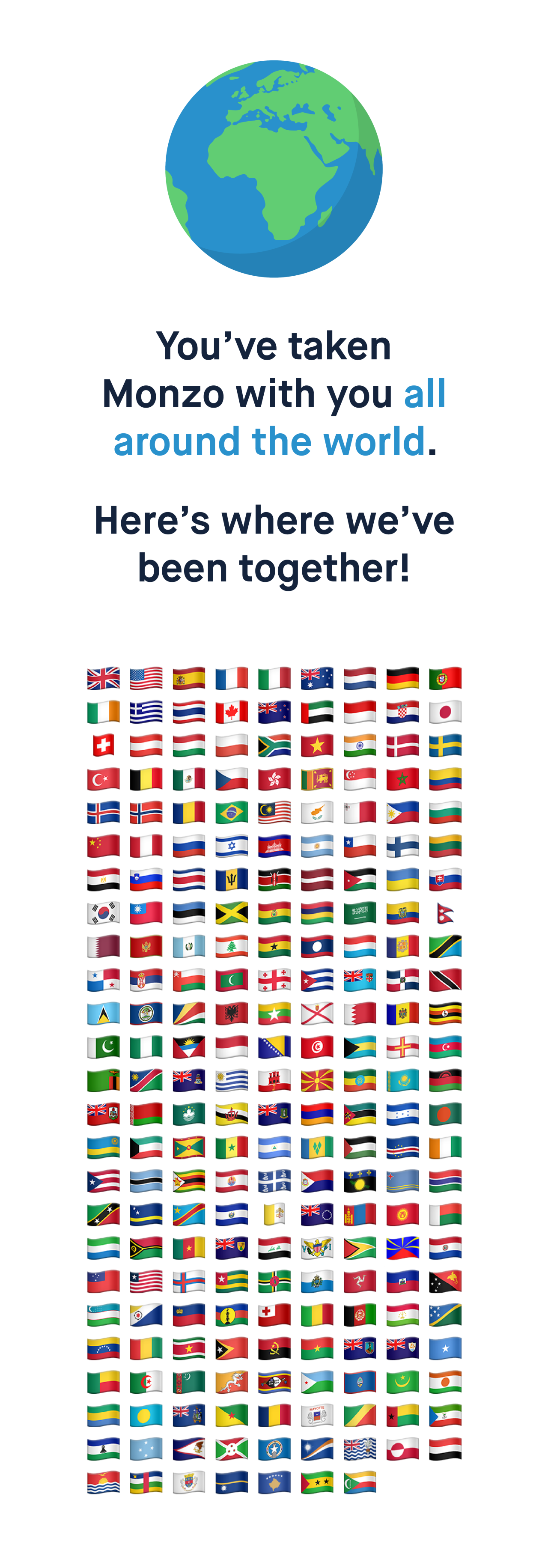 You've taken Monzo with you all around the world.