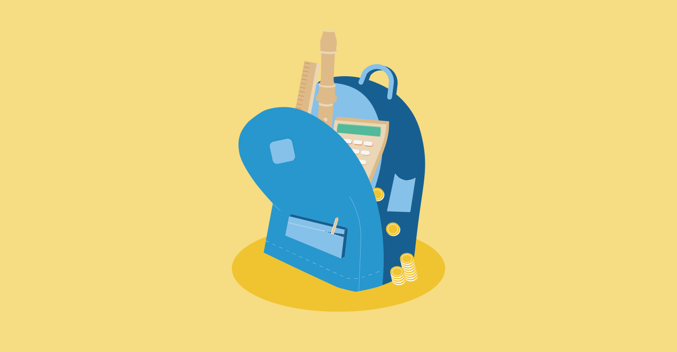 An illustration of a blue open bag with a calculator, recorder, and ruler poking out on a yellow background.