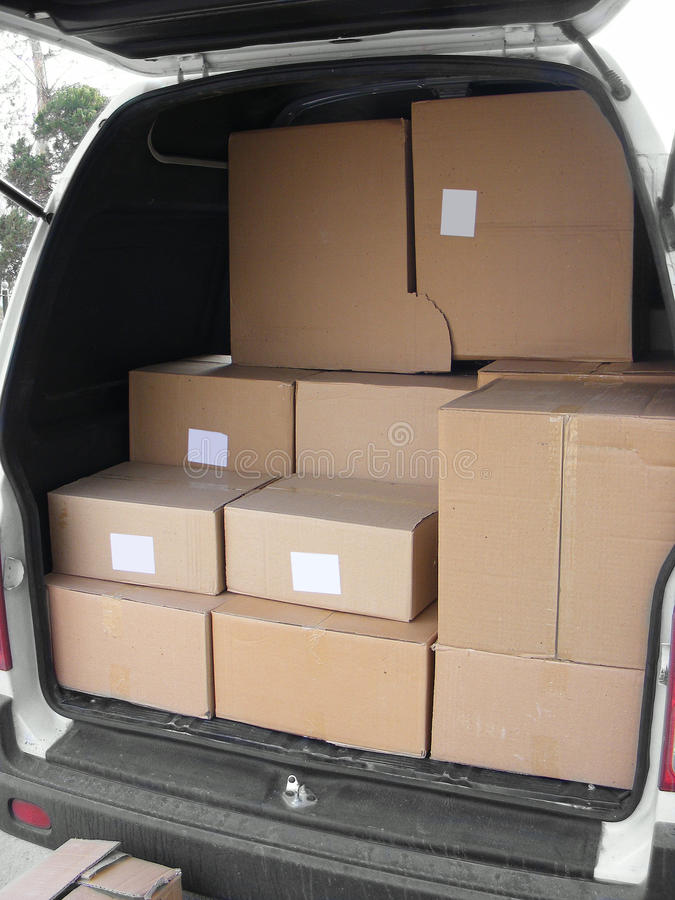 A stack of boxes in a van