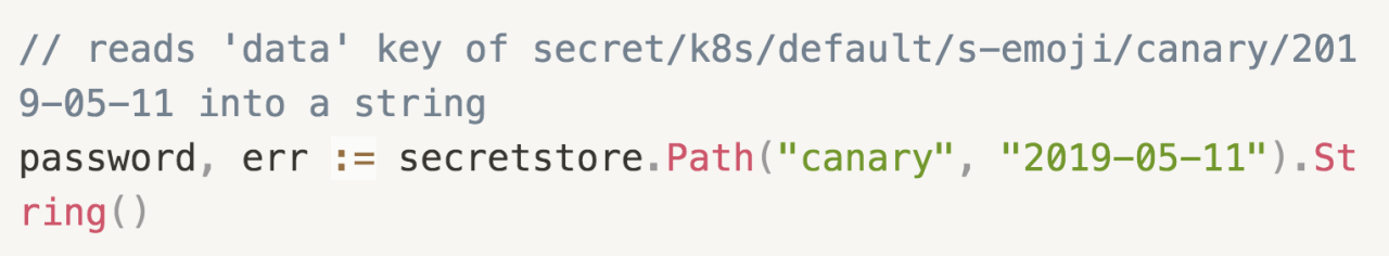 "// reads 'data' key of secret/k8s/default/s-emoji/canary/2019-05-11 into a string  password, err := secretstore.Path(""canary"", ""2019-05-11"").String()"