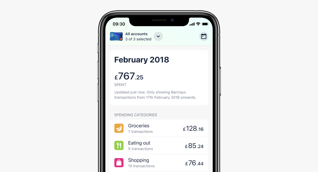 An app screen showing a view of Trends, looking back at spending and saving from February 2018 across three accounts.