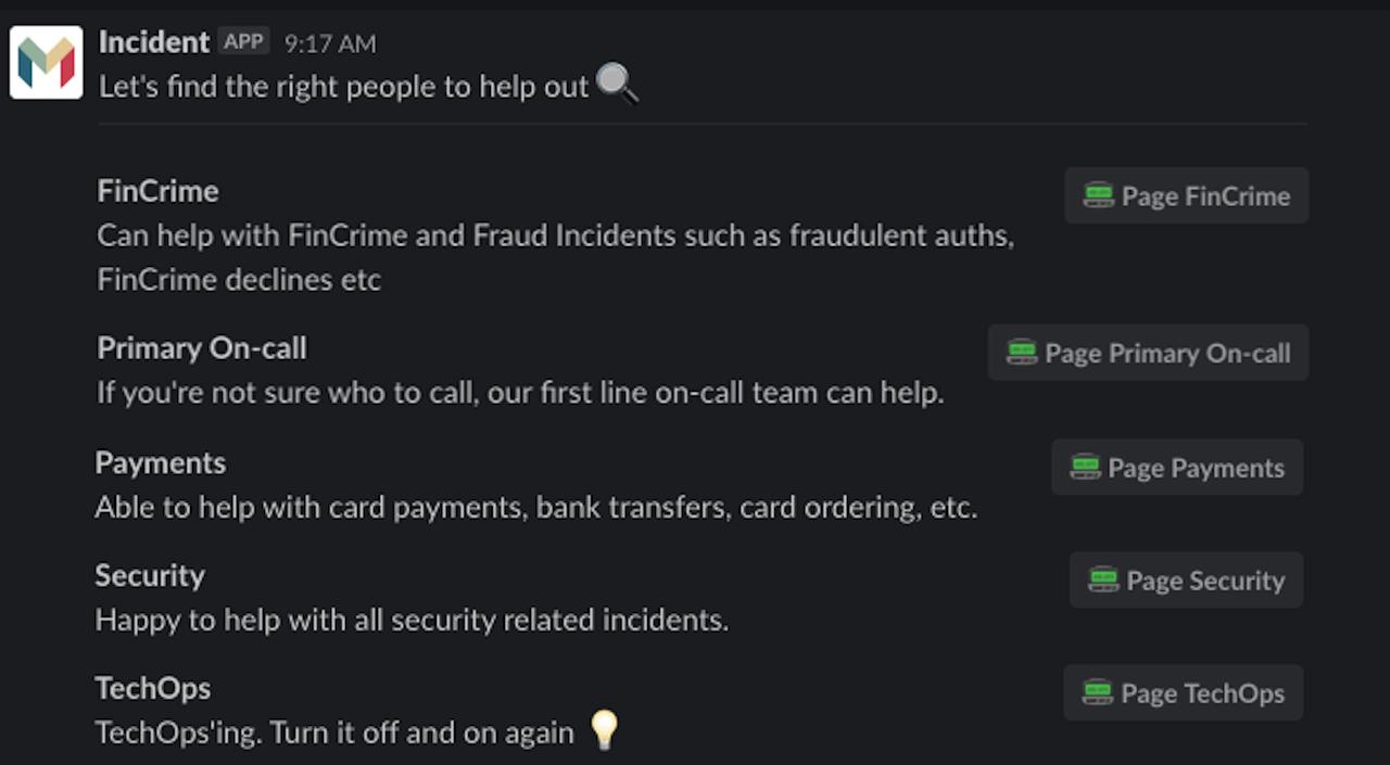 Incidents at Monzo - IncidentBot screenshot