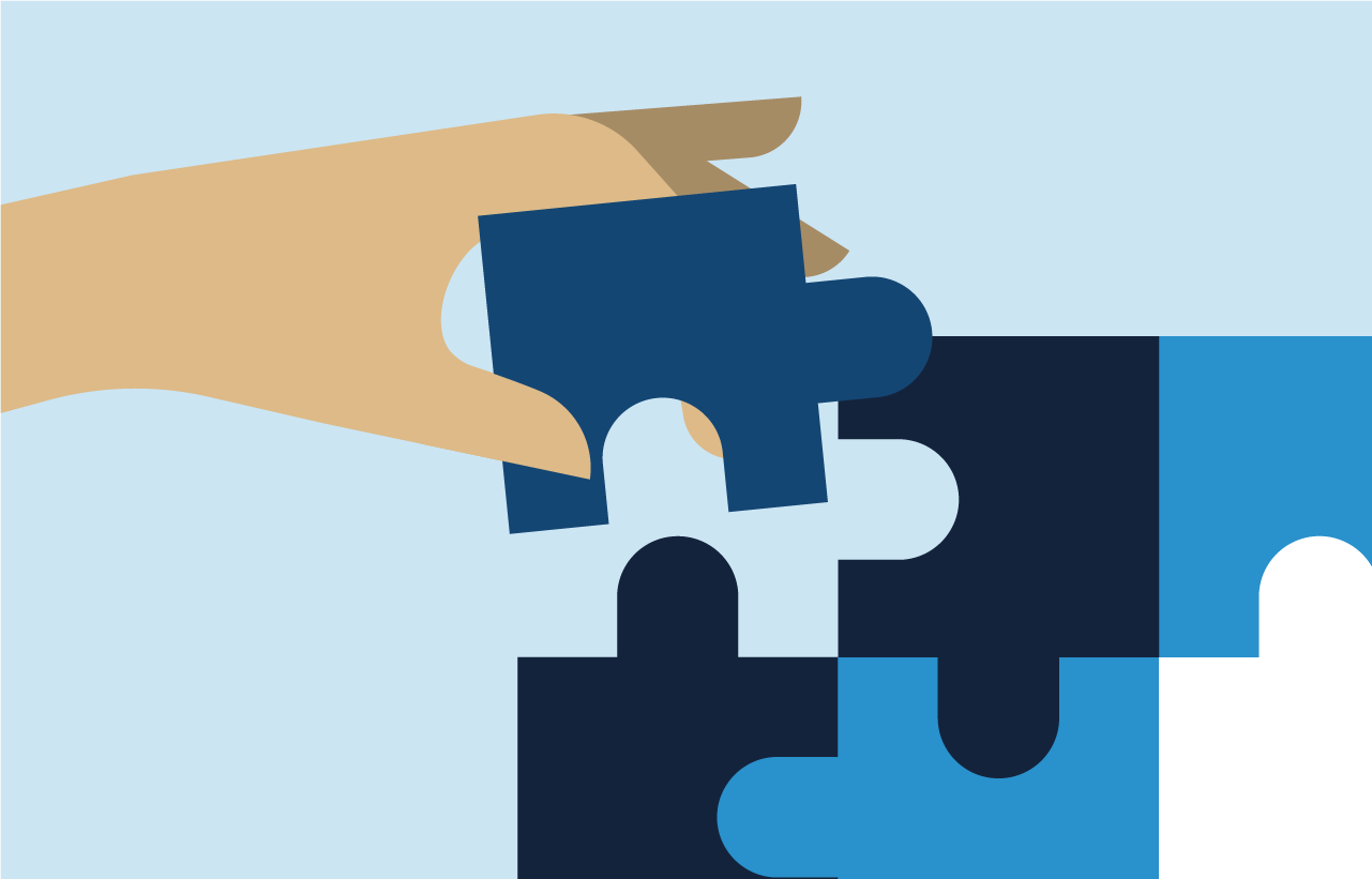 An illustration of a hand placing the final piece into a puzzle
