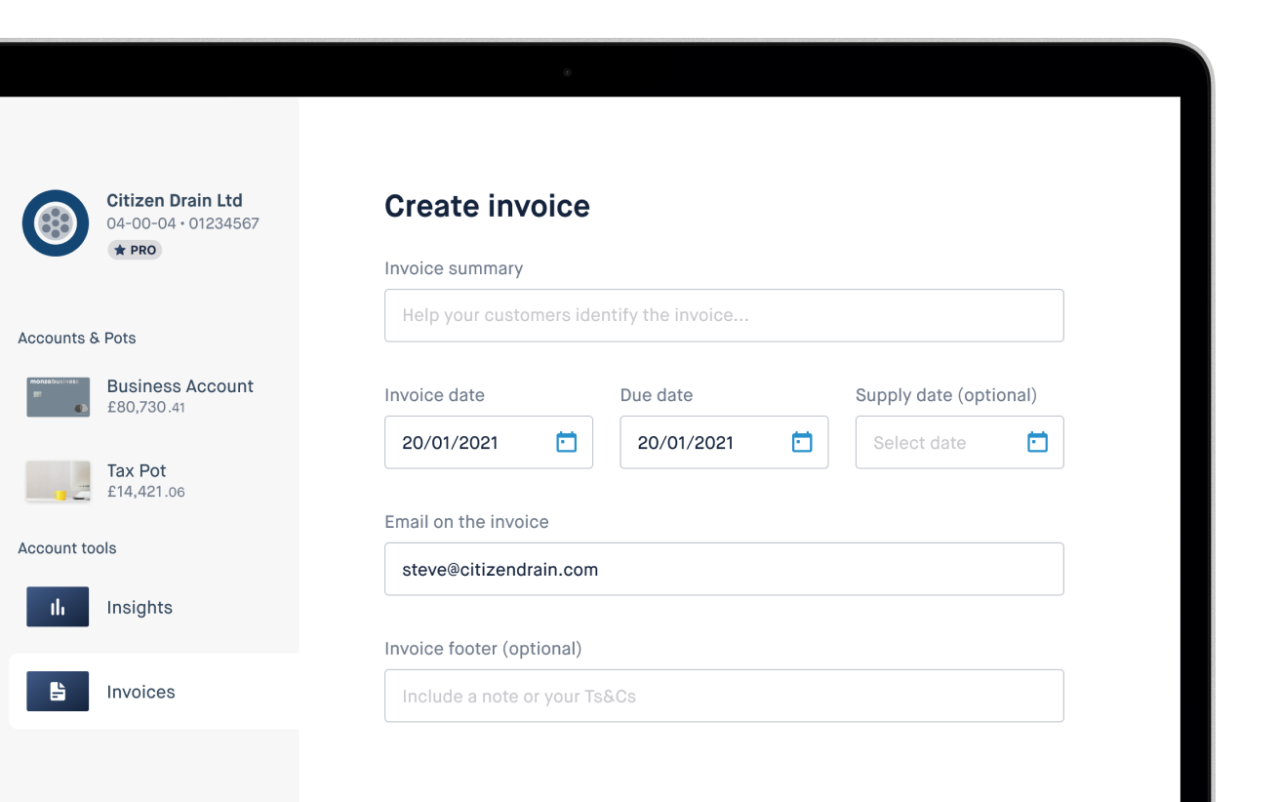 Image showing invoice creation on desktop, including new footer section