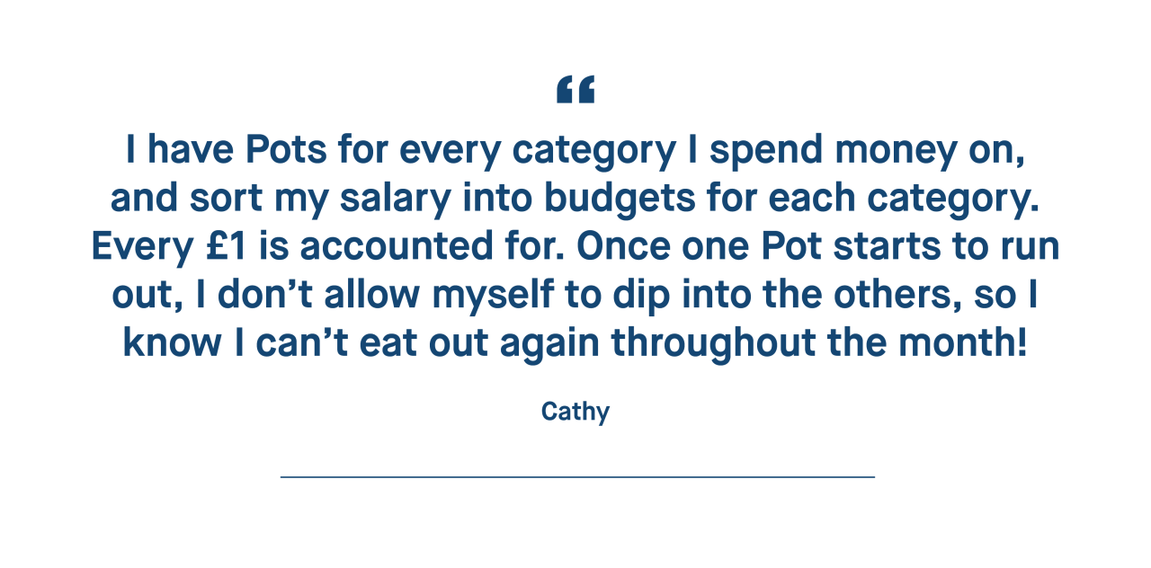 Cathy – I have Pots for every category I spend money on, and sort my salary into budgets for each category. Every £1 is accounted for.
