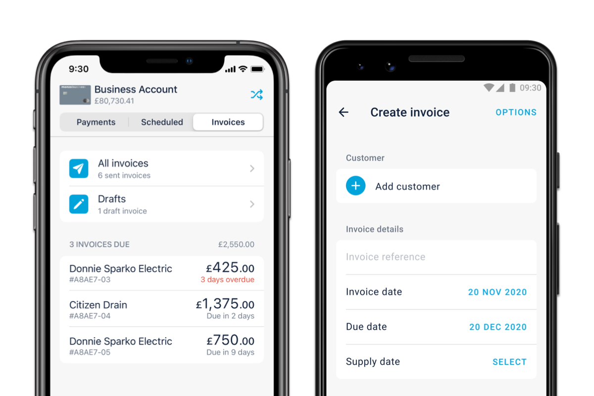Illustration showing the Invoice tab in the Monzo app.