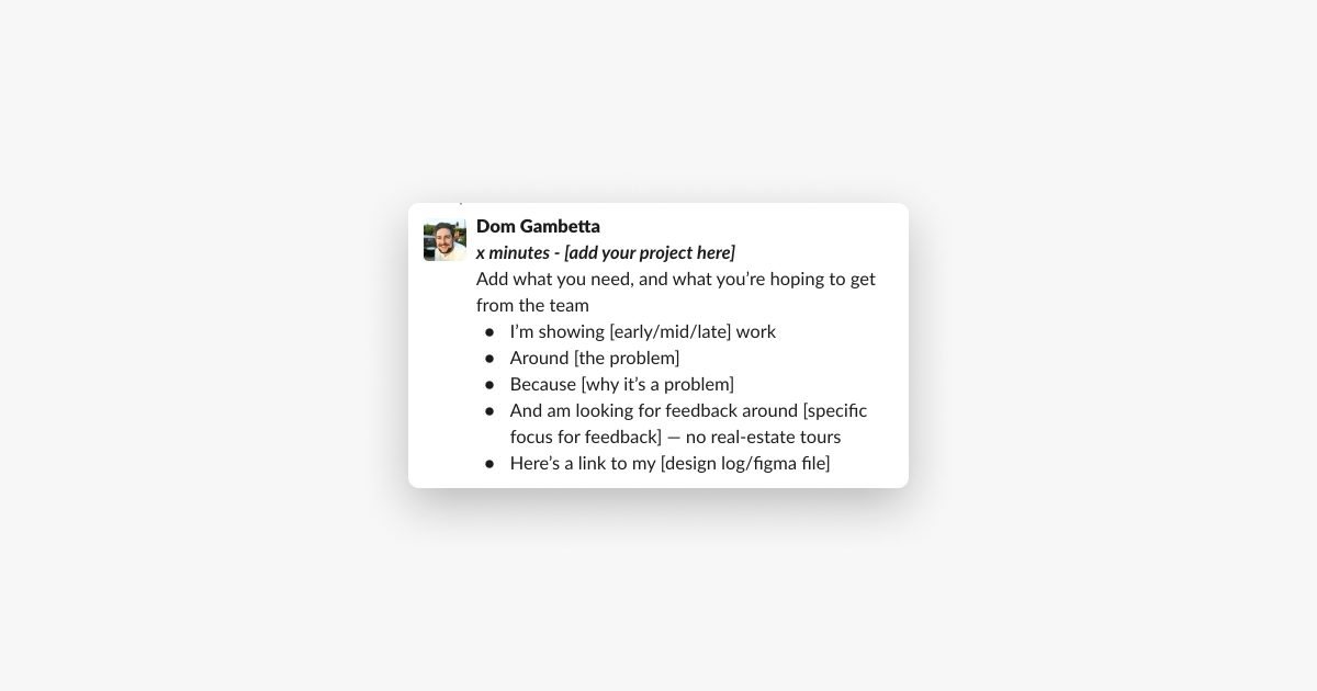 a template for an agenda item for a design input session