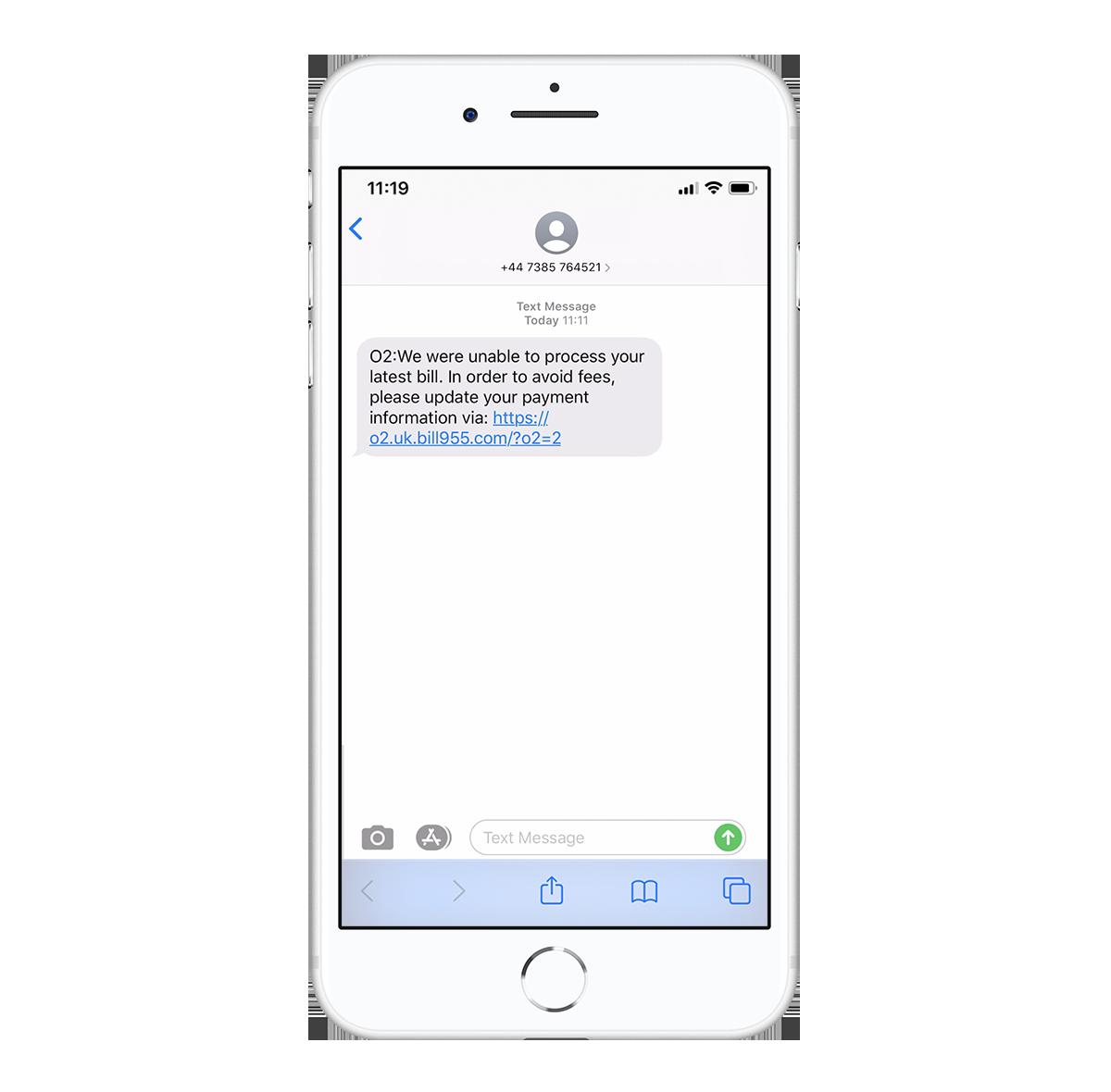 O2 text scam screen 1