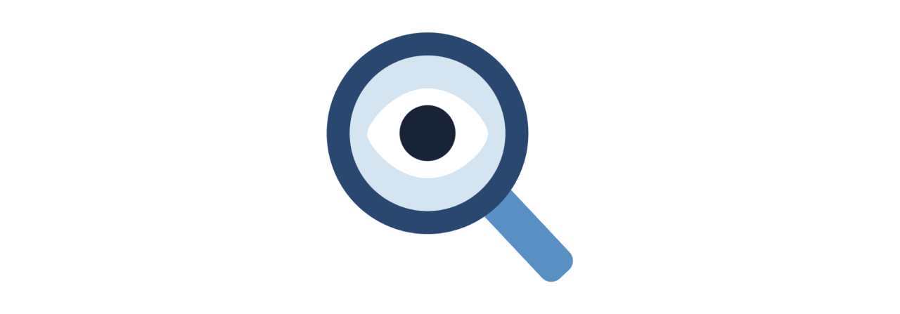 Magnifying glass with an eye in