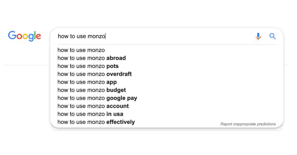How to use Monzo google