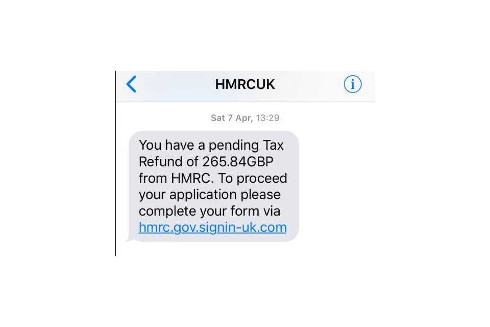 Example of an HMRC scam by text