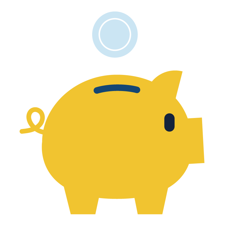 Illustration of money falling into a piggy bank