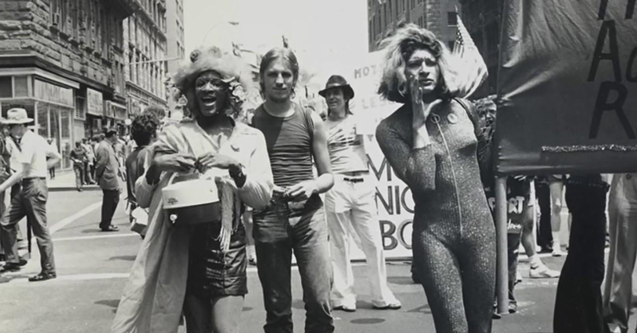 Sylvia Rivera marching in Pride