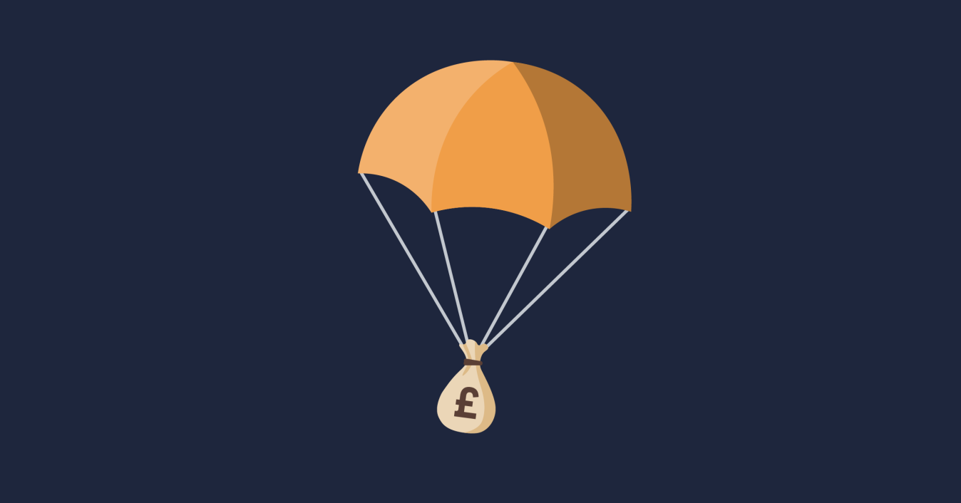 OG image of a parachute dropping a bag of money.