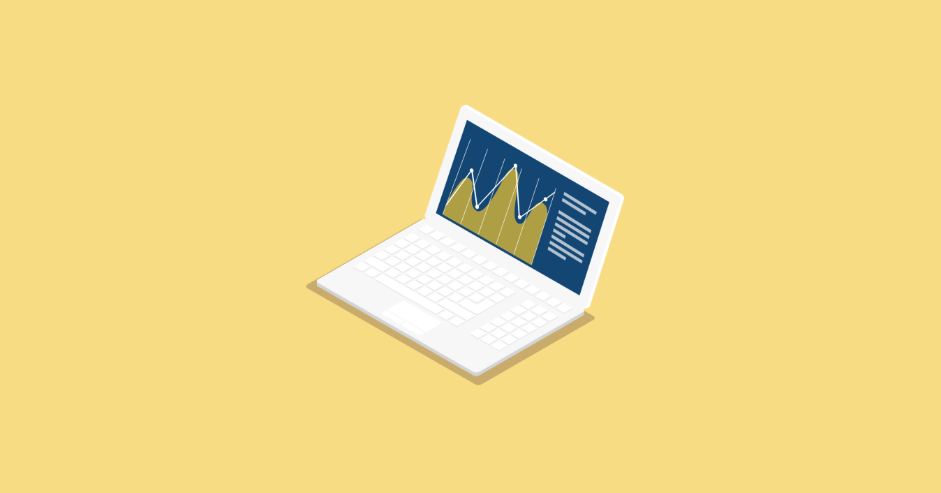 Illustration of a laptop with a chart on the screen
