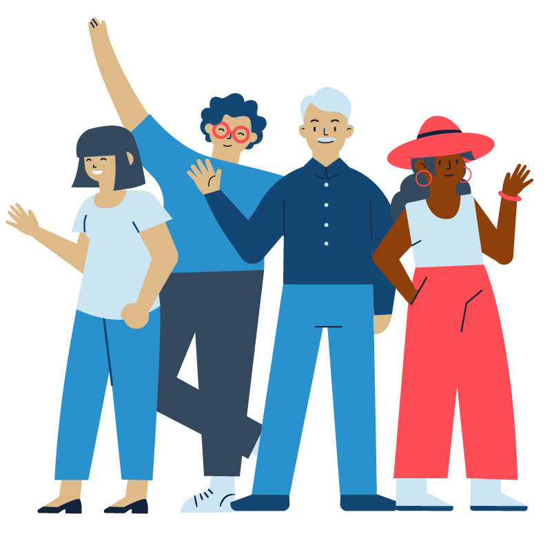 An illustration of four people of different ages, races, and genders smiling and waving