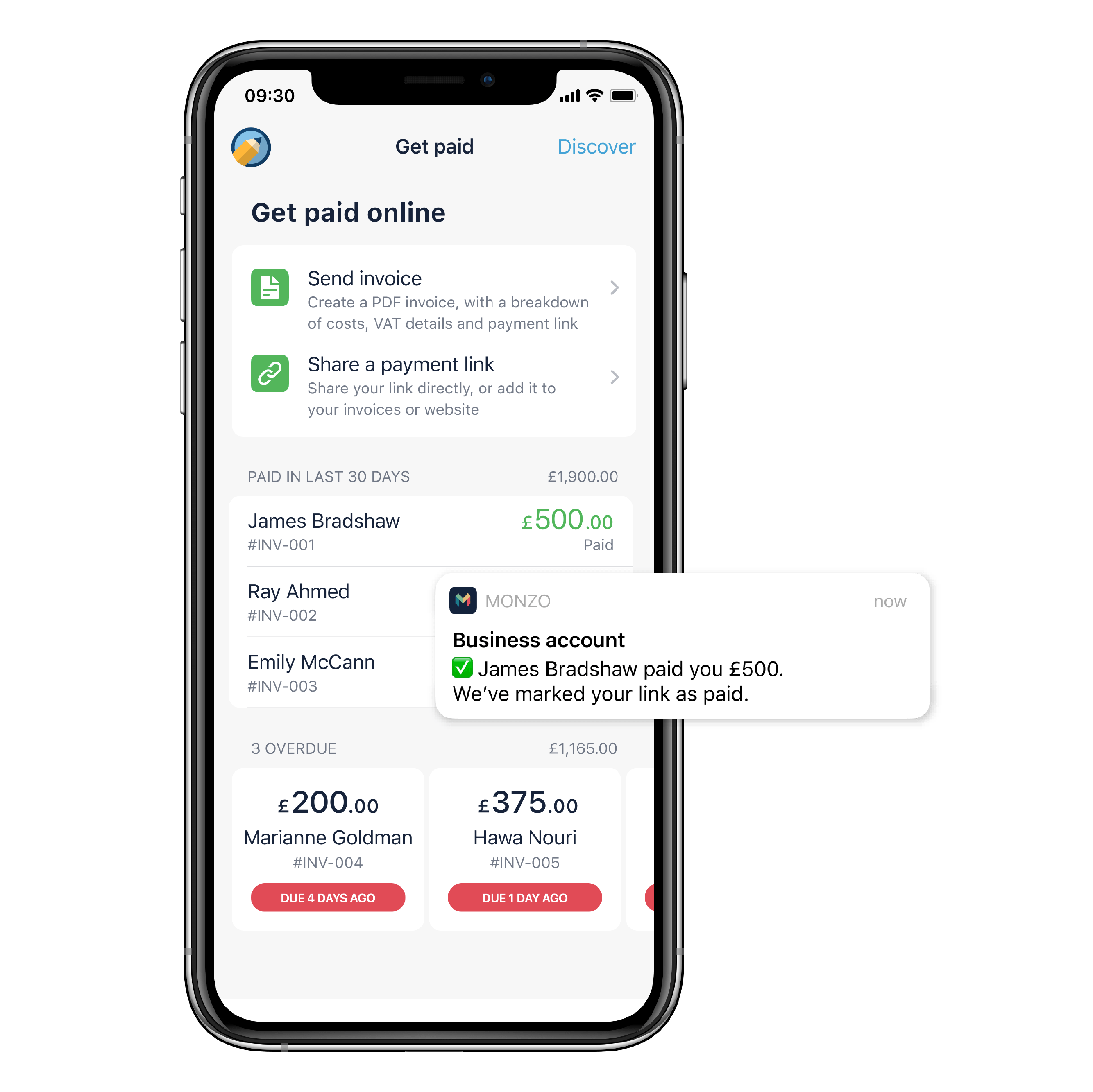 """A screenshot of the Monzo app on iPhone with the heading """"Get paid online"""". First button: """"Send invoice - create a PDF invoice, with a breakdown of costs, VAT details and payment link"""". Second button: """"Share a payment link - share a link directly, or add it to your invoices or website"""". There is a list of paid payment requests with the heading """"Paid in last 30 days"""" and a total of £1900. There is a list of overdue payment requests with the heading """"3 overdue"""" and a total of £1,165. There is also a picture of a mobile notification with the Monzo logo that says """"Business account - James Bradshaw paid you £500. We've marked your link as paid."""""""