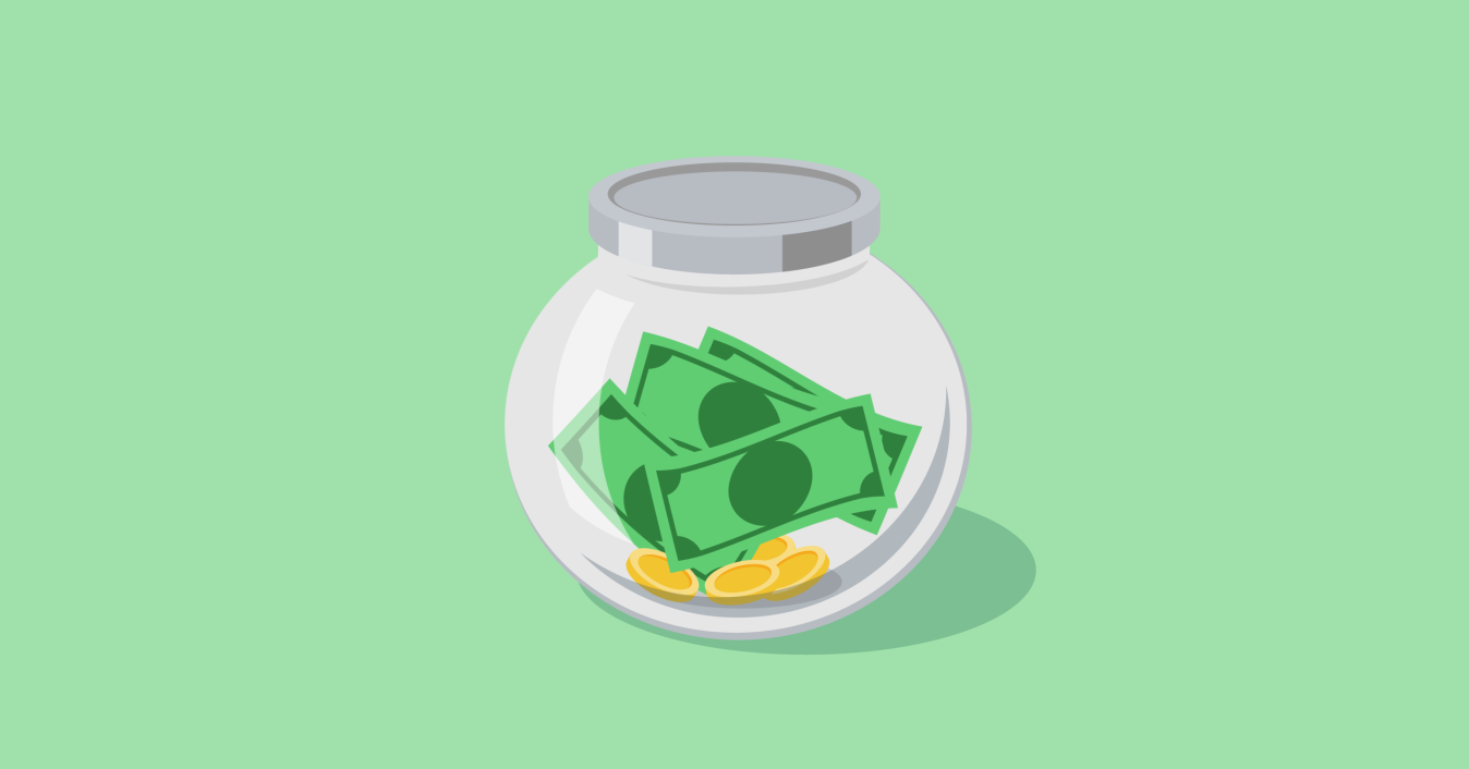 Illustration showing a jar filled with money