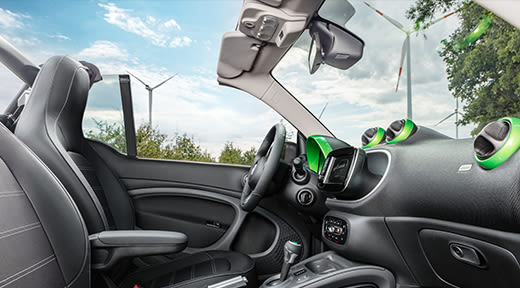 Image smart fortwo cabrio Rooftop Open Green View