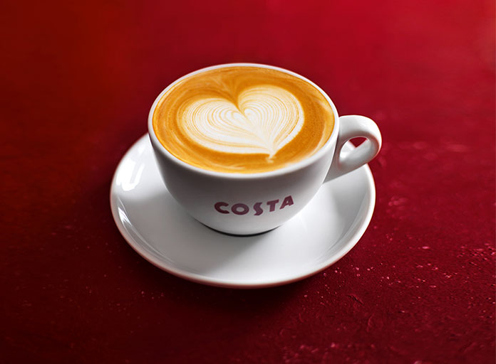 Costa Coffee flat white with heart