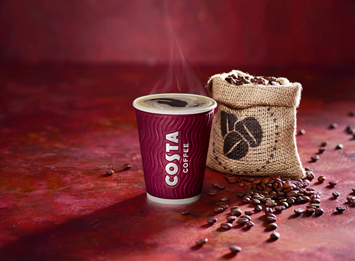 Costa Coffee take away cup with beans